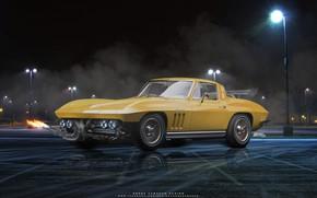 Picture night, reflection, lights, car, 1965 Chevrolet Corvette