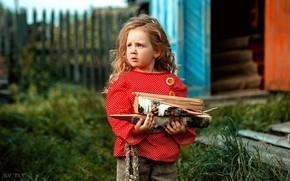 Picture girl, wood, bokeh