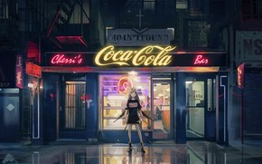Picture girl, street, the evening, signs