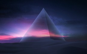 Picture The sky, Sand, Pyramid, Fantasy, Art, Night, Fiction, Dunes, Concept Art, Hani Jamal, by Hani ...