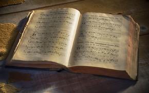 Wallpaper notes, book, latin liturgian hymns