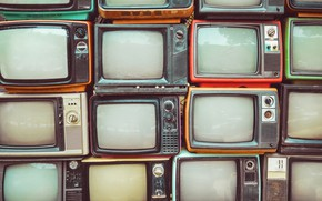 Picture wall, many, old tv