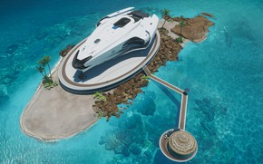 Picture sea, beach, ship, resort, explorer, star citizen, Origin, 600i, The 600i Explorer