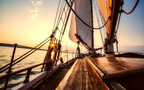 Picture sea, the way, morning, yacht, sail