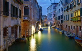 Picture building, home, boats, Italy, Venice, channel, boats, Italy, Venice
