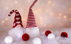 Picture winter, balls, snow, holiday, balls, toys, lights, Christmas, dwarves, New year, Santa Claus, a couple, …