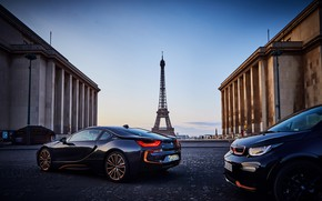 Picture sunset, France, Paris, the evening, BMW, pair, Eiffel tower, BMW i3, BMW i8, 2019, Ultimate …