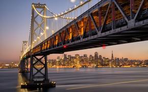 Picture bridge, the city, lights, CA, USA, San Francisco
