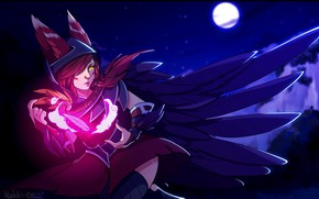Picture girl, night, magic, the moon, feathers, ears, League of Legends