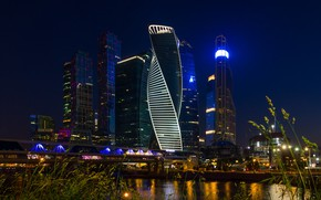 Picture bridge, river, building, Moscow, Russia, night city, skyscrapers, Moscow-City, The Moscow river