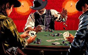 Picture card, table, chips, Wild West, poker, Red Dead Redemption 2, Red Dead Online