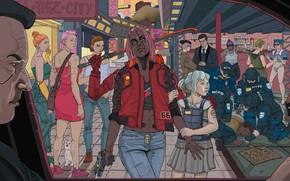 Picture girl, police, art, street, Night city, Cyberpunk 2077, Cyberpunk, wapon, 2077