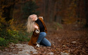 Picture autumn, girl, face, pose, blonde