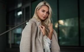 Picture look, Girl, blonde, blouse, hairstyle, coat, Andrey Vechkenzin