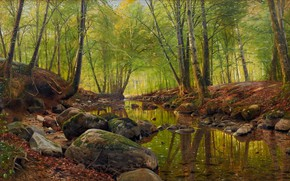 Picture Danish painter, 1900, Peter Merk Of Menstad, Peder Mørk Mønsted, Danish realist painter, Springday in …