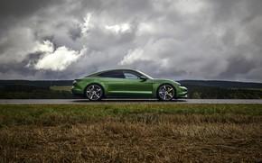 Picture field, grass, clouds, Porsche, in profile, Turbo S, 2020, Taycan
