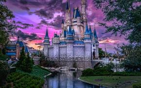 Picture water, the city, castle, the evening, FL, USA, Orlando, amusement Park