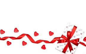 Picture gift, hearts, red, white background, bow, Valentine's day, ribbon