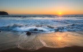 Picture sand, sea, wave, beach, summer, the sky, sunset, shore, summer, beach, sea, sunset, blue, seascape, …