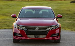 Picture red, Honda, Accord, sedan, front view, 2018, four-door, 2.0T Sport