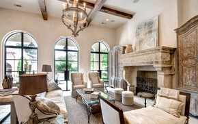 Picture design, style, interior, fireplace, living room, Mediterranean Living Room