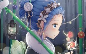 Picture girl, dove, fairy, From scratch, REM, RAM, Re Zero Kara Hajime Chip Isek Or Seikatsu