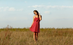 Picture field, the sky, grass, look, the sun, nature, smile, model, portrait, makeup, dress, horizon, hairstyle, …