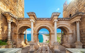 Picture sea, the building, columns, ruins, Turkey, Antalya