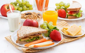 Picture Apple, cheese, milk, strawberry, juice, grapes, sandwich