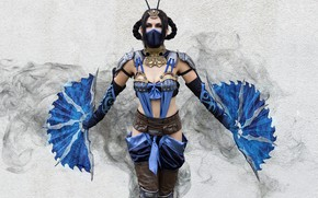 Picture girl, mask, cosplay, Kitana, fans