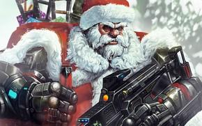 Wallpaper Winter, Figure, Christmas, Background, New year, Santa, Weapons, Beard, Holiday, Santa Claus, Art, Christmas, Art, ...