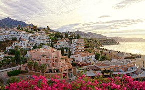Picture sea, flowers, mountains, home, Spain, Andalusia
