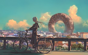 Picture the sky, girl, bike, the city, donut