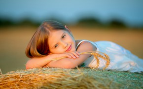 Picture summer, look, smile, mood, spikelets, girl, bokeh, face, Natalia Popova