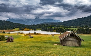 Picture field, autumn, forest, the sky, grass, clouds, mountains, clouds, nature, lake, overcast, hills, the slopes, …
