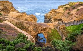 Picture sea, stones, rocks, coast, Australia, ladder, path, the bushes, Australian National Heritage