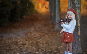 Picture autumn, leaves, trees, mood, violin, girl