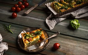 Picture food, pie, vegetables, tomatoes, spices, a piece of cake, Iryna Melnyk