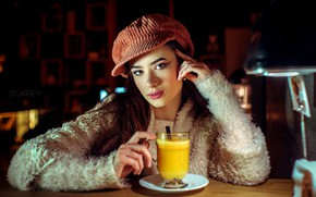 Picture look, glass, pose, model, lamp, portrait, makeup, juice, hairstyle, cap, brown hair, jacket, sitting, at …