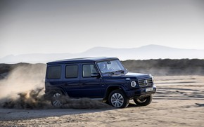 Picture sand, blue, movement, Mercedes-Benz, SUV, 4x4, 2018, G-Class, G 500, V8