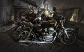 Wallpaper background, motorcycles, garage