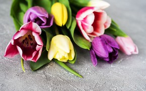 Picture flowers, bouquet, colorful, tulips, wood, flowers, tulips, spring, purple