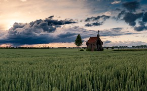 Picture sunset, goldenhour, The chapel on the Hill
