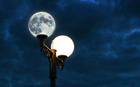 Picture space, night, the moon, lantern, the night sky, picture of the moon