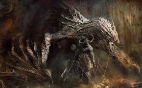 Picture dragon, Goblin, axe, fantasy art, Keita Okada