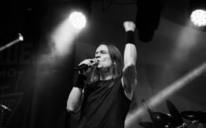 Picture rock, musician, Valery Kipelov, чёрнобелое фото