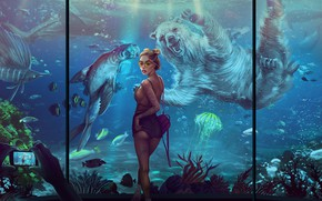 Picture Fish, Girl, Photo, Aquarium, Medusa, Bear, Cat, Animals, Art, Phone, Figure, Beautiful, Posing, Smartphone, Foto …