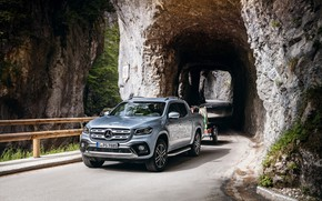 Picture Mercedes-Benz, the tunnel, pickup, the trailer, 2018, X-Class, gray-silver