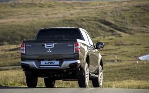 Picture asphalt, Mitsubishi, body, rear view, pickup, L200, 2015