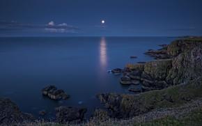 Picture sea, coast, the evening, Scotland